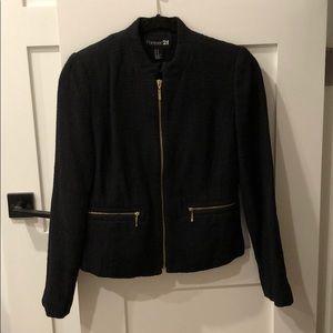 Forever 21 Black Zippered Blazer - Size M